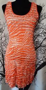 Charlotte Russe Orange Ruffle Midi Dress